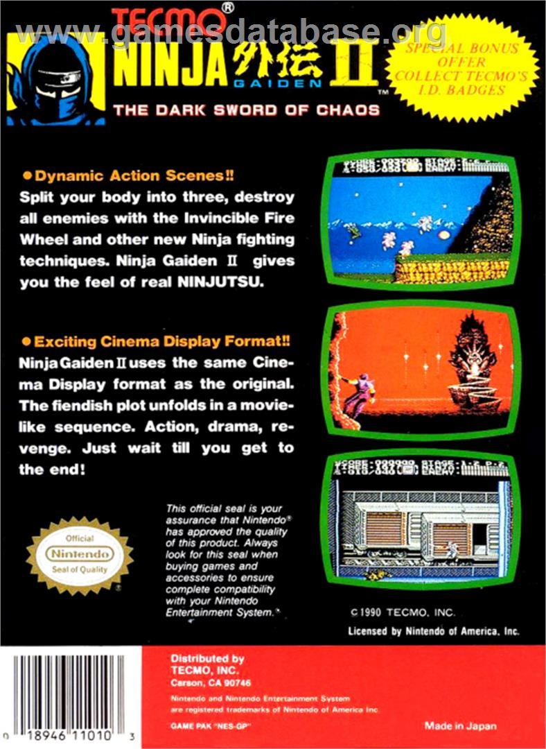 Ninja Gaiden Ii The Dark Sword Of Chaos Nintendo Nes Artwork