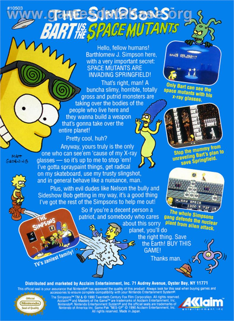 Simpsons: Bart vs. the Space Mutants - Nintendo NES - Artwork - Box Back