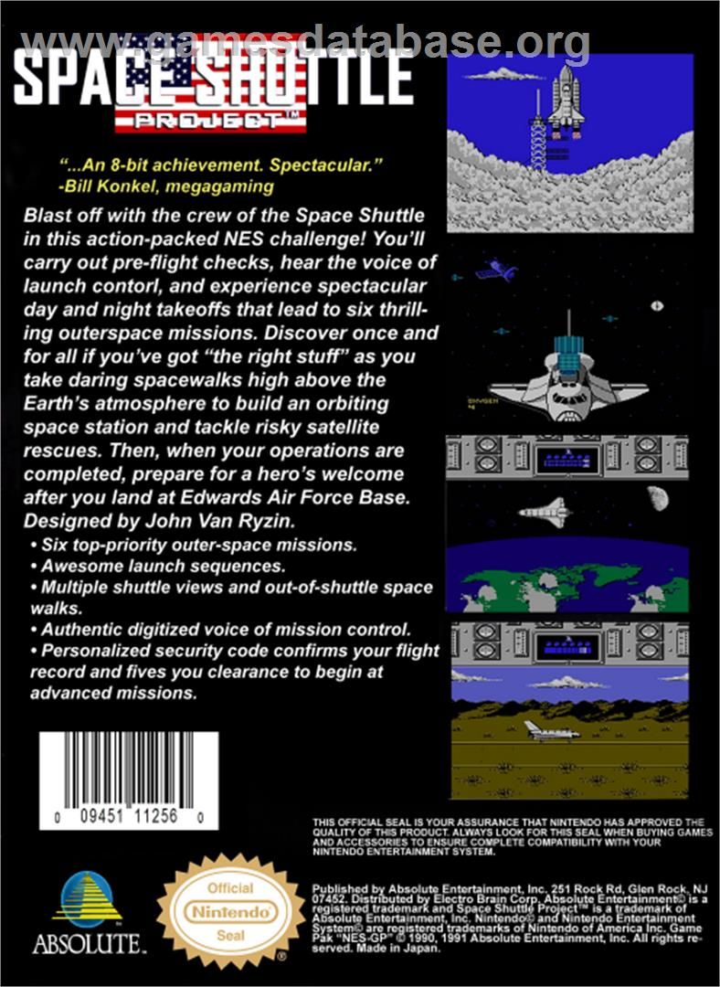 Space Shuttle Project - Nintendo NES - Artwork - Box Back