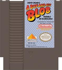 Cartridge artwork for A Boy and his Blob: Trouble on Blobolonia on the Nintendo NES.