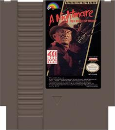 Cartridge artwork for A Nightmare on Elm Street on the Nintendo NES.