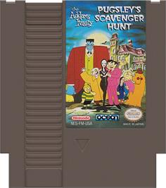 Cartridge artwork for Addams Family: Pugsley's Scavenger Hunt on the Nintendo NES.