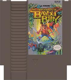Cartridge artwork for Adventures of Bayou Billy on the Nintendo NES.