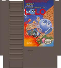 Cartridge artwork for Adventures of Lolo on the Nintendo NES.