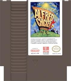 Cartridge artwork for Alfred Chicken on the Nintendo NES.