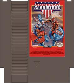 Cartridge artwork for American Gladiators on the Nintendo NES.