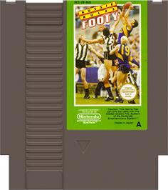 Cartridge artwork for Aussie Rules Footy on the Nintendo NES.