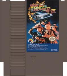 Cartridge artwork for Back to the Future 2 & 3 on the Nintendo NES.