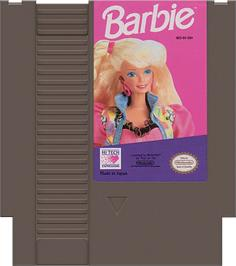 Cartridge artwork for Barbie on the Nintendo NES.