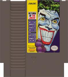 Cartridge artwork for Batman: Return of the Joker on the Nintendo NES.