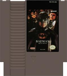 Cartridge artwork for Batman Returns on the Nintendo NES.