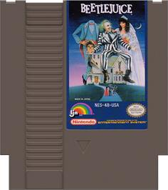 Cartridge artwork for Beetlejuice on the Nintendo NES.