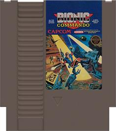 Cartridge artwork for Bionic Commando on the Nintendo NES.