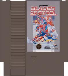 Cartridge artwork for Blades of Steel on the Nintendo NES.