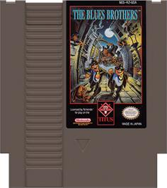 Cartridge artwork for Blues Brothers on the Nintendo NES.