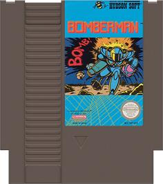 Cartridge artwork for Bomberman on the Nintendo NES.
