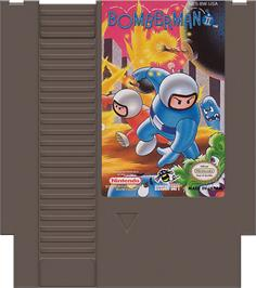 Cartridge artwork for Bomberman 2 on the Nintendo NES.