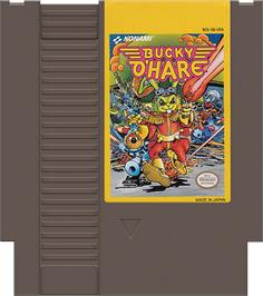 Cartridge artwork for Bucky O'Hare on the Nintendo NES.