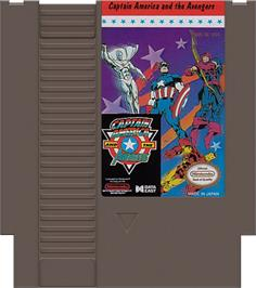 Cartridge artwork for Captain America and The Avengers on the Nintendo NES.