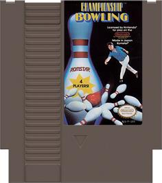 Cartridge artwork for Championship Bowling on the Nintendo NES.
