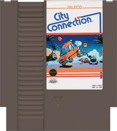 Cartridge artwork for City Connection on the Nintendo NES.