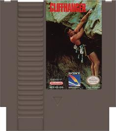 Cartridge artwork for Cliffhanger on the Nintendo NES.