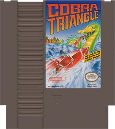 Cartridge artwork for Cobra Triangle on the Nintendo NES.