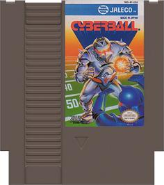 Cartridge artwork for Cyberball on the Nintendo NES.