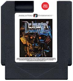 Cartridge artwork for Deathbots on the Nintendo NES.