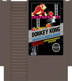 Cartridge artwork for Donkey Kong on the Nintendo NES.