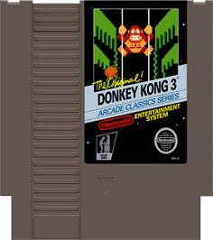 Cartridge artwork for Donkey Kong 3 on the Nintendo NES.