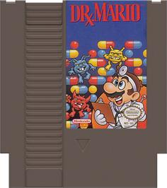 Cartridge artwork for Dr. Mario on the Nintendo NES.