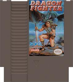 Cartridge artwork for Dragon Fighter on the Nintendo NES.