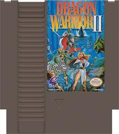 Cartridge artwork for Dragon Warrior 2 on the Nintendo NES.