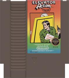 Cartridge artwork for Elevator Action on the Nintendo NES.
