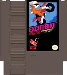Cartridge artwork for Excite Bike on the Nintendo NES.