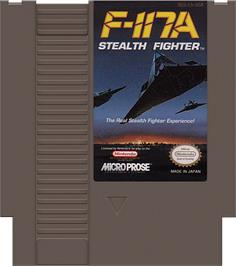 Cartridge artwork for F-117A Stealth Fighter on the Nintendo NES.