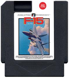 Cartridge artwork for F-15 City War on the Nintendo NES.