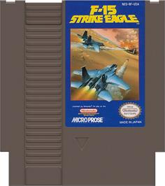Cartridge artwork for F-15 Strike Eagle on the Nintendo NES.