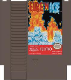 Cartridge artwork for Fire and Ice on the Nintendo NES.