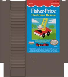 Cartridge artwork for Fisher-Price: Firehouse Rescue on the Nintendo NES.
