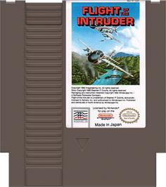 Cartridge artwork for Flight of the Intruder on the Nintendo NES.