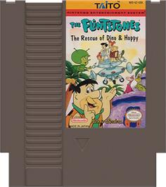 Cartridge artwork for Flintstones: The Rescue of Dino & Hoppy on the Nintendo NES.