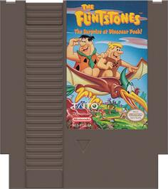 Cartridge artwork for Flintstones: The Surprise at Dinosaur Peak on the Nintendo NES.