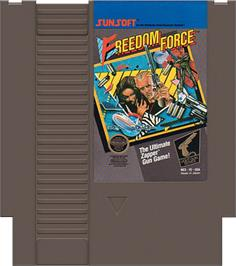 Cartridge artwork for Freedom Force on the Nintendo NES.