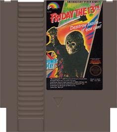 Cartridge artwork for Friday the 13th on the Nintendo NES.
