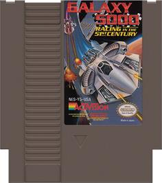 Cartridge artwork for Galaxy 5000: Racing in the 51st Century on the Nintendo NES.