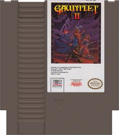 Cartridge artwork for Gauntlet II on the Nintendo NES.