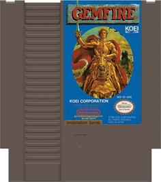 Cartridge artwork for Gemfire on the Nintendo NES.