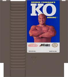 Cartridge artwork for George Foreman's KO Boxing on the Nintendo NES.